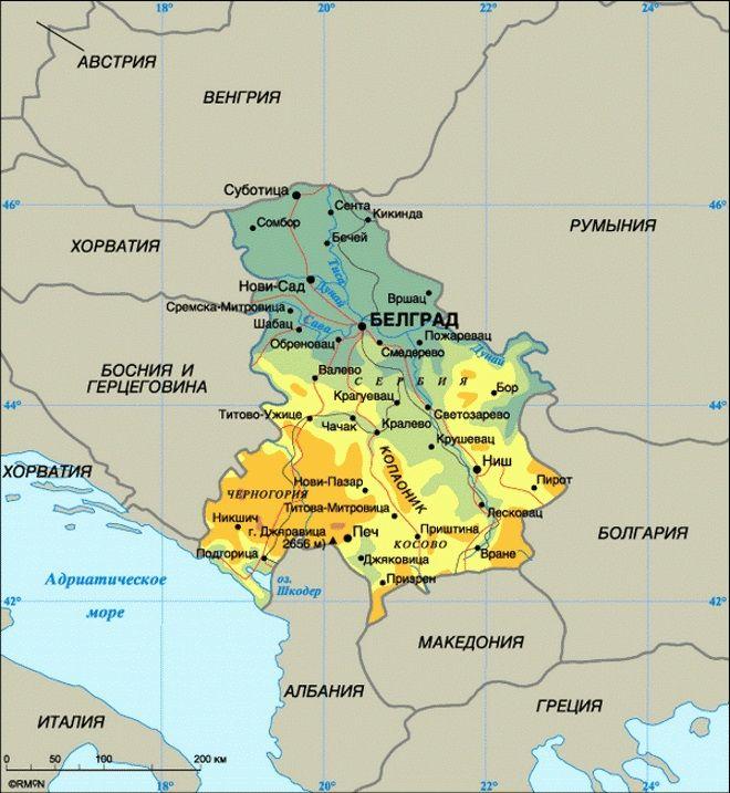 Сербия на карте мира и Европы