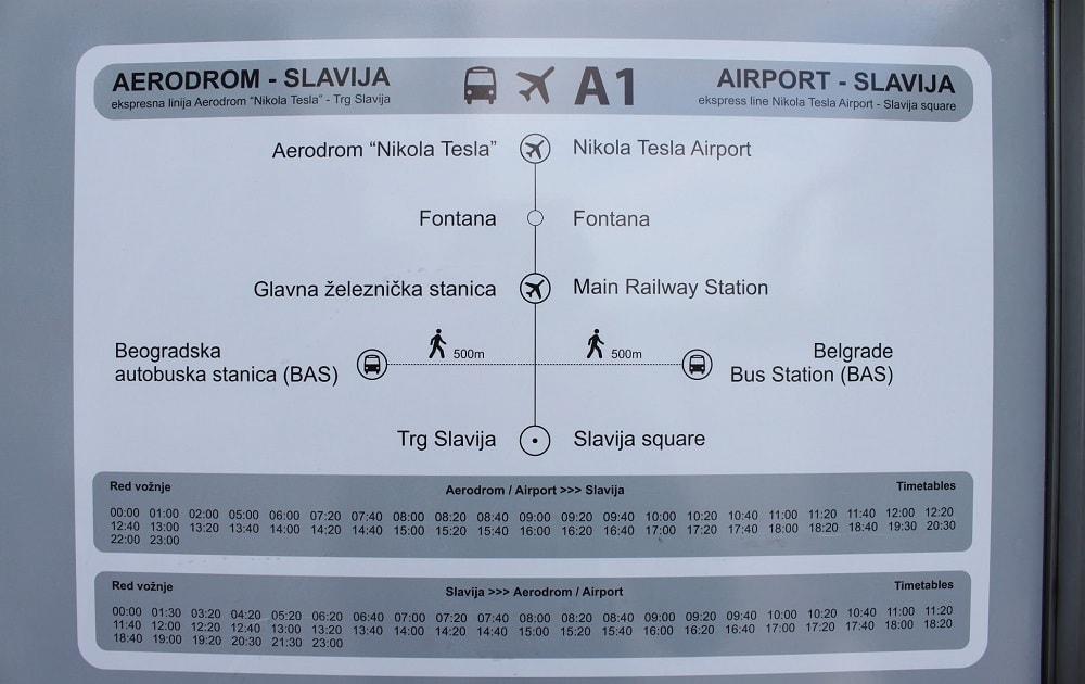 Расписание автобусов Белград - Аэропорт